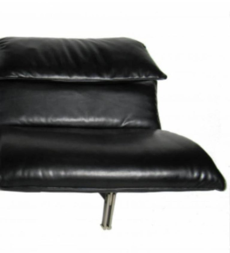 Italian Modern Stainless Steel and Leather Two-Seat