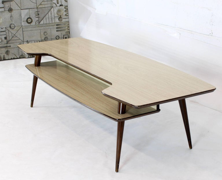 Lacquered Italian Modern Step Coffee Table with Shelf For Sale