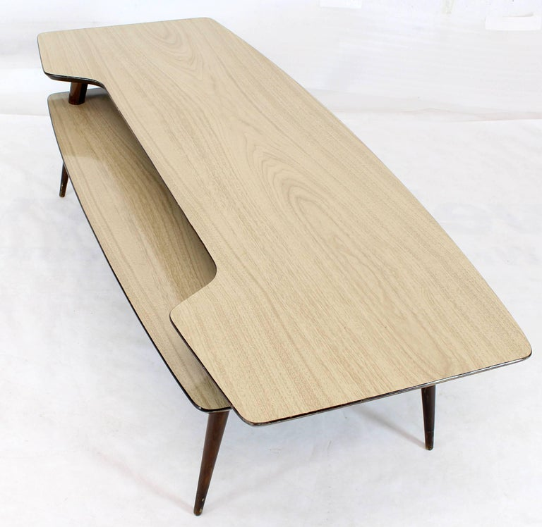 20th Century Italian Modern Step Coffee Table with Shelf For Sale