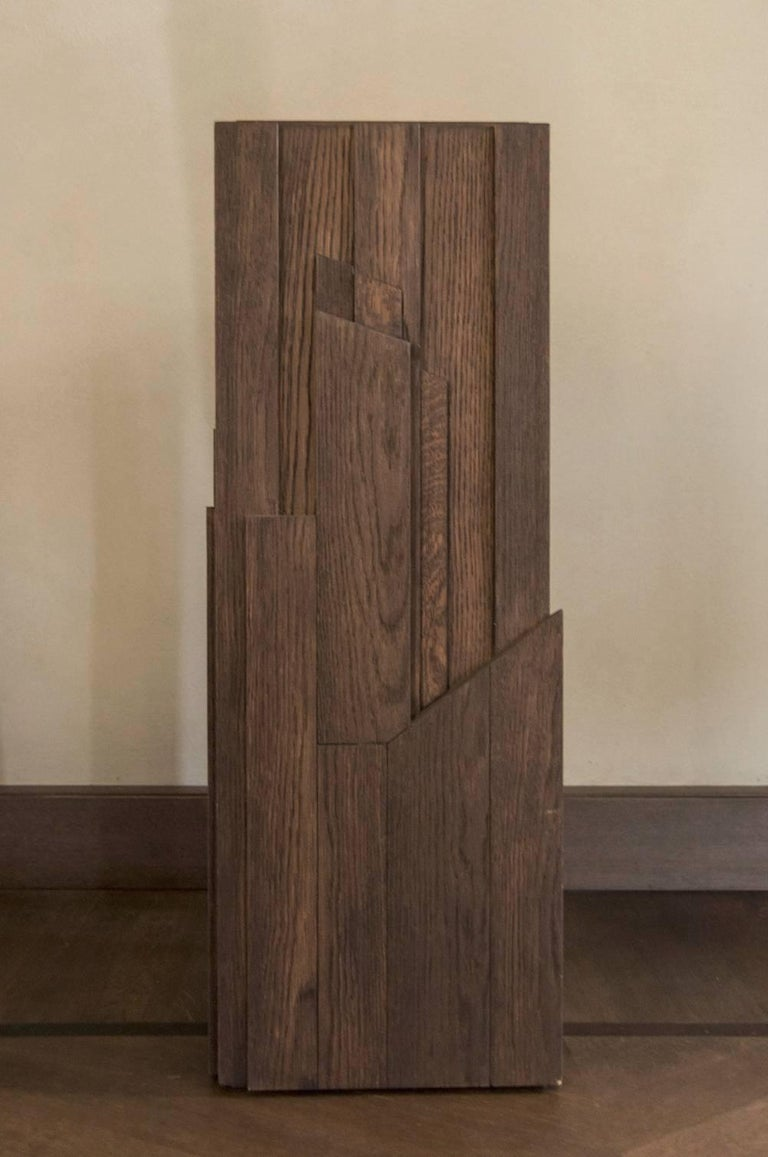 Contemporary Italy Hand-Carved Oak Wood Column in Post Modern Style For Sale