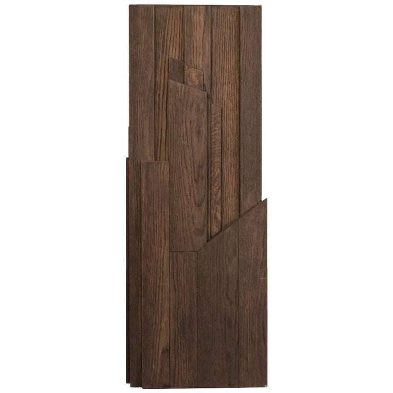 Italy Hand-Carved Oak Wood Column in Post Modern Style For Sale
