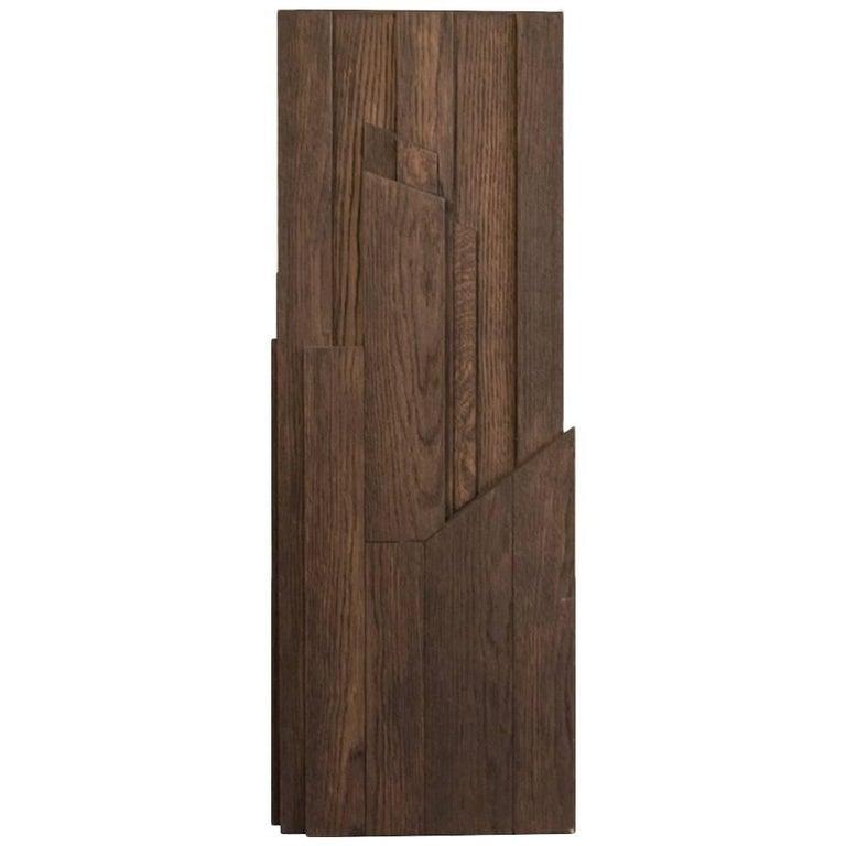 Italian Modern Style Grey Hand-Carved Oak Wood Column For Sale