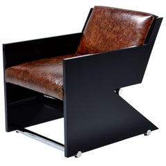 Italian Modern Style Leather Black Lacquer and Chrome Z-Chair