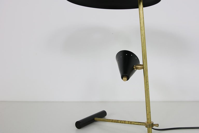 Contemporary Italian Modern Table Lamp Black & Brass with Adjustable Lampshade Stilnovo Style For Sale