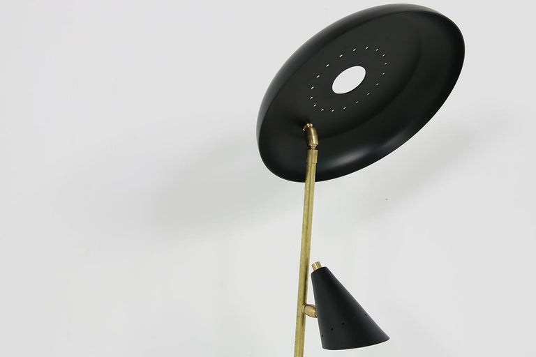 Metal Italian Modern Table Lamp Black & Brass with Adjustable Lampshade Stilnovo Style For Sale