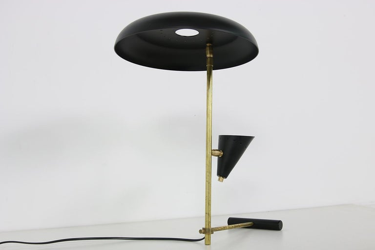Italian Modern Table Lamp Black & Brass with Adjustable Lampshade Stilnovo Style For Sale 1