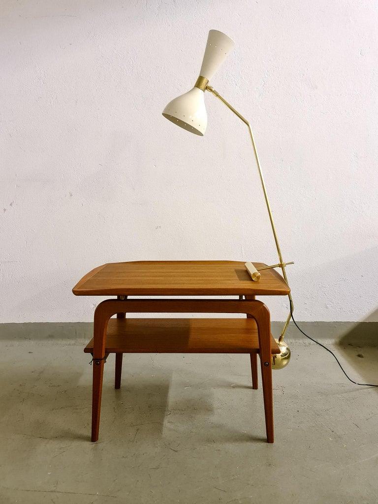 Italian Modern Table Lamp Brass and Metal, Stilnovo Style For Sale 9