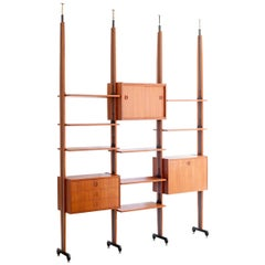 Italian Modern Teak and Iron Floor to Ceiling Wall Unit, 1950s