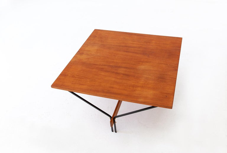 Italian Modern Teak and Iron Square Coffee Table with Iron ...