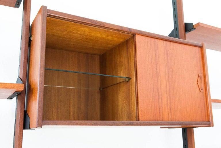 Iron Italian Modern Teak Brass Floor to Ceiling Wall Unit Bookshelf Library, 1950s For Sale