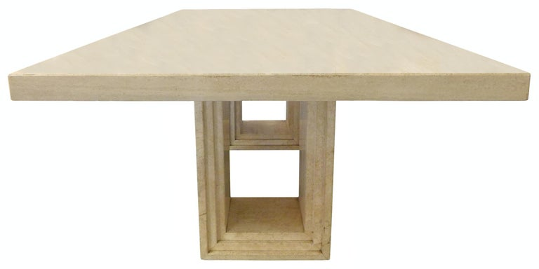 Italian Modern Travertine Dining Table In Good Condition For Sale In Los Angeles, CA