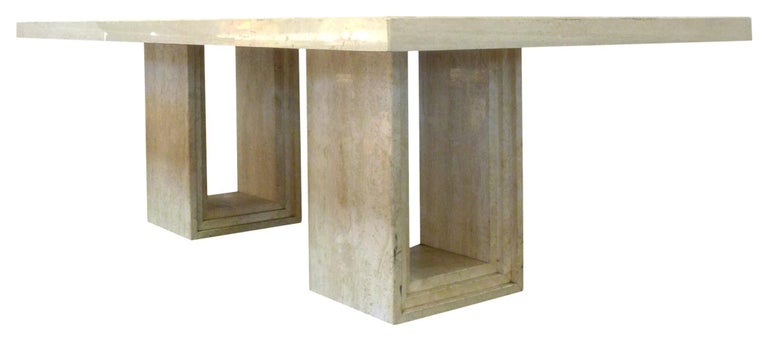 Late 20th Century Italian Modern Travertine Dining Table For Sale