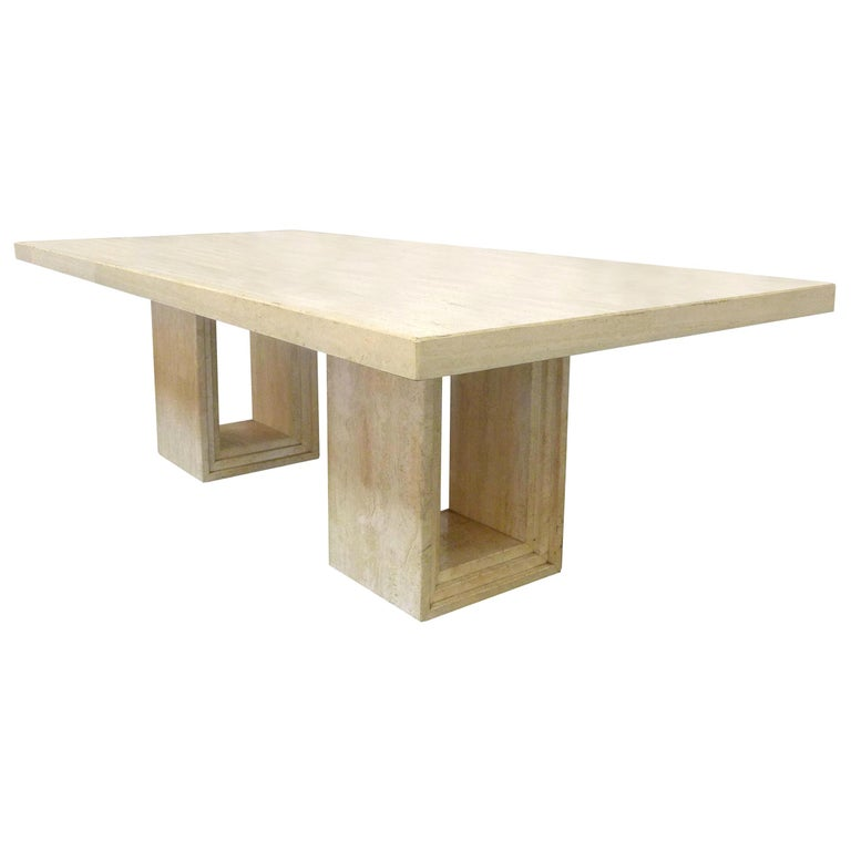 Italian Modern Travertine Dining Table For Sale