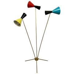 "Italian Modern ""Triennale"" 3-Arm Articulating Adjustable Floor Lamp, Italy 1960s"