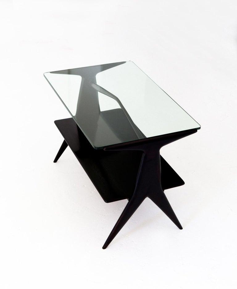 Modern Black Coffee Table For Sale: Italian Modern Two Levels Black Coffee Table, 1950s For