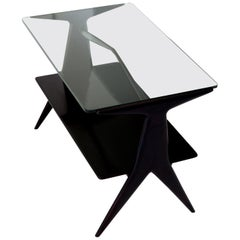 Italian Modern Two Levels Black Coffee Table, 1950s