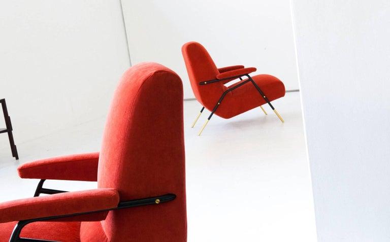 Mid-Century Modern Italian Modern Velvet Lounge Armchairs, 1950s For Sale