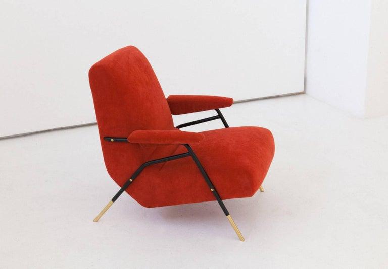 Mid-20th Century Italian Modern Velvet Lounge Armchairs, 1950s For Sale