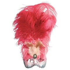 Italian Modern Venetian Handmade Pink and Silver Carnival Mask with Feathers