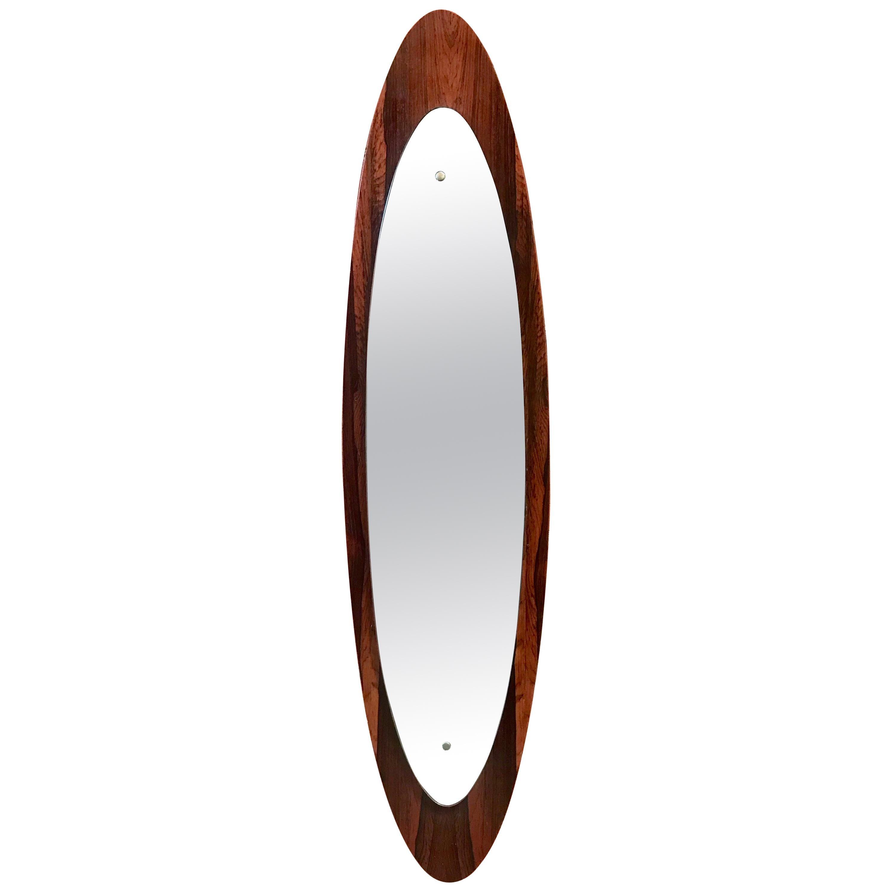 Italian Modern Wall Mirror Oval Teak Frame, 1950s