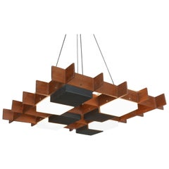 Italian Modern Walnut, Brass and Perspex Chandelier, Angelo Brotto for Esperia