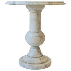 Italian White and Black Marble Round Side Table