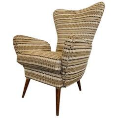 Italian Modern Wingback Lounge Chair, circa 1950s