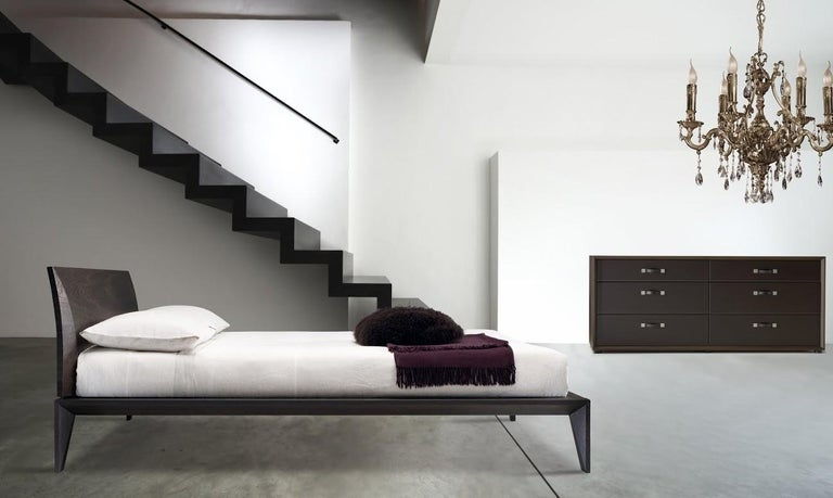 . Italian Modern Wood Bed Handmade and Designed in Italy  Wood or Leather  Queen