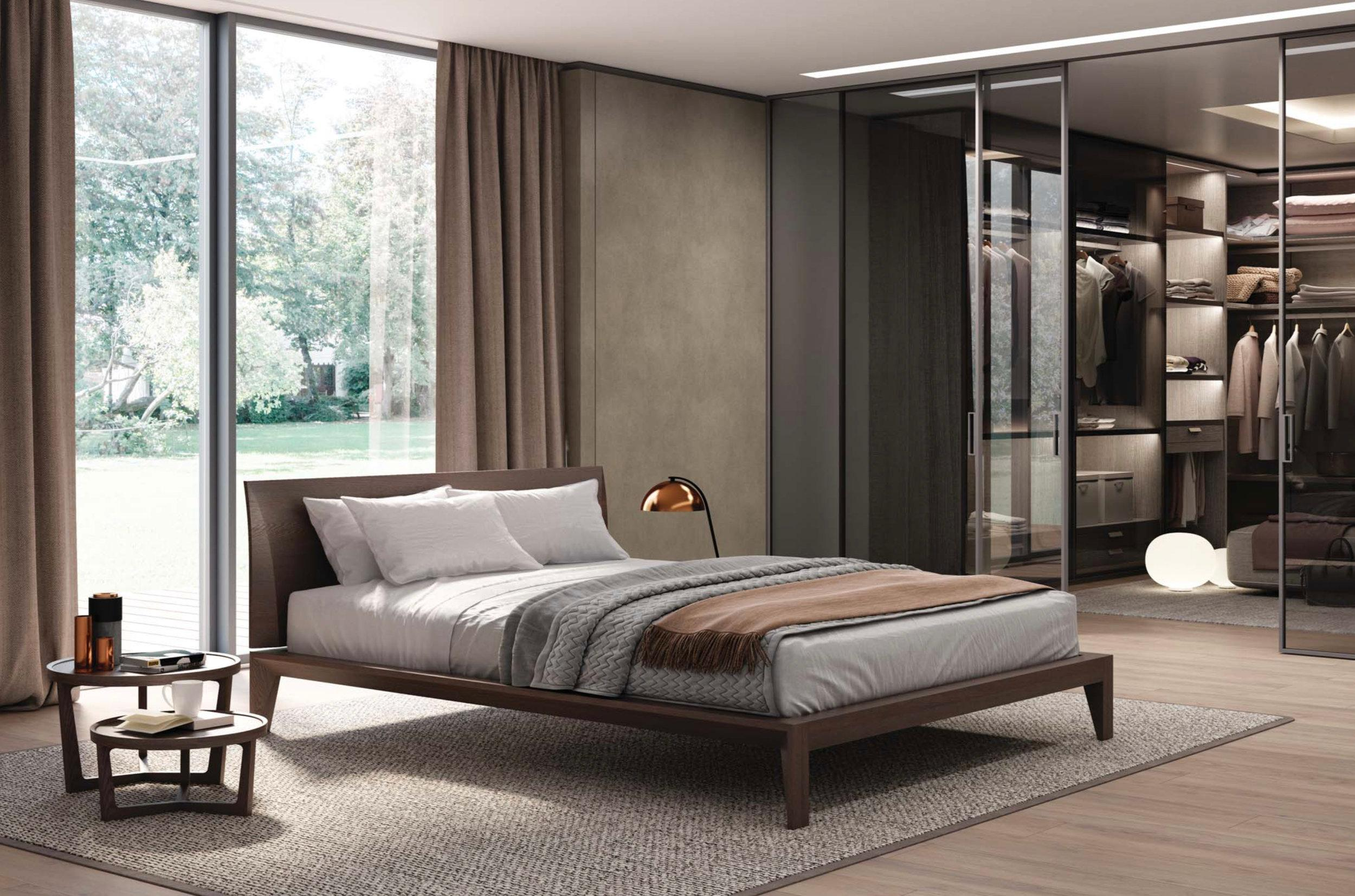 Italian Modern Wood Bed Handmade and Designed in Italy, Wood or Leather  Queen