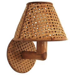 Italian Modern Woven Wicker Weave and Bamboo Wall Light with Shade