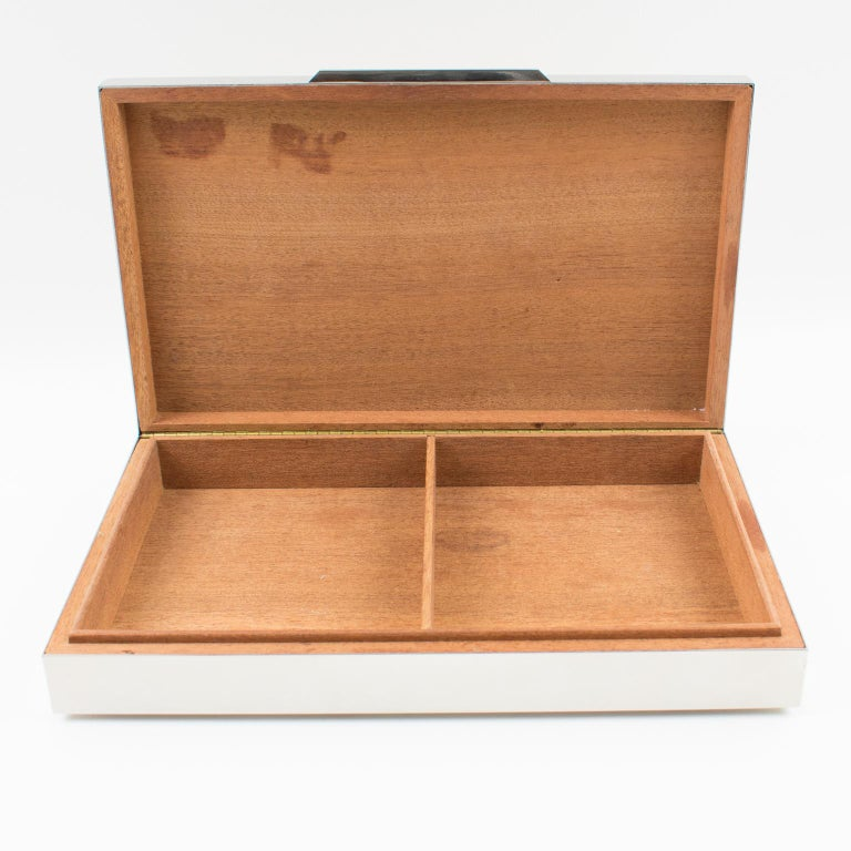 Mid-Century Modern Italian Modernist 1970s Chrome Metal Decorative Box For Sale