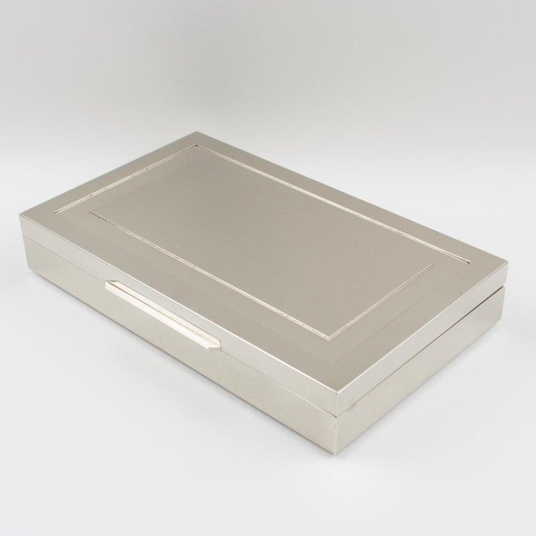Italian Modernist 1970s Chrome Metal Decorative Box In Good Condition For Sale In Atlanta, GA