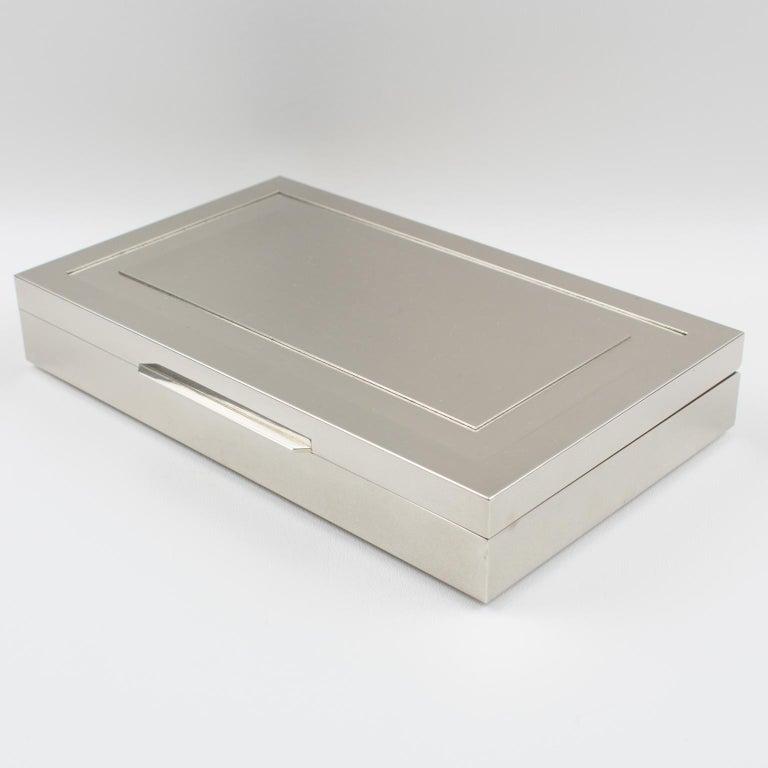 Late 20th Century Italian Modernist 1970s Chrome Metal Decorative Box For Sale