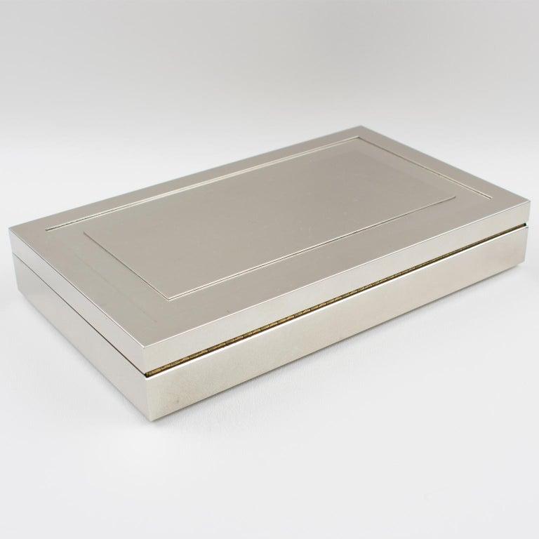 Brass Italian Modernist 1970s Chrome Metal Decorative Box For Sale