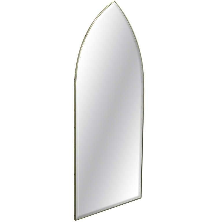 Mid-Century Modern Italian Modernist Arched Mirror with Brass Frame For Sale