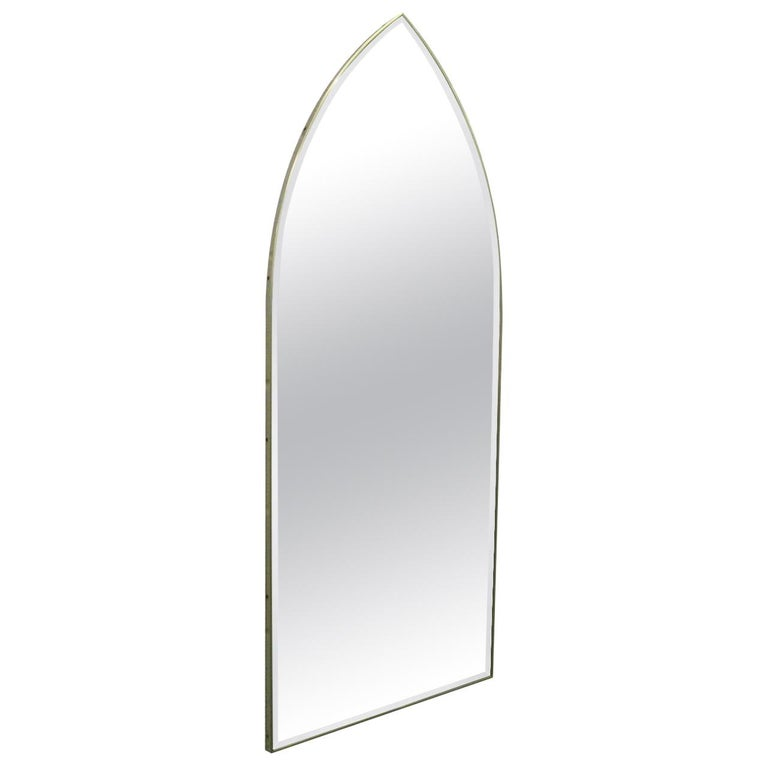 Italian Modernist Arched Mirror with Brass Frame For Sale