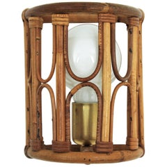 Italian Modernist Bamboo and Rattan Wall Light / Sconce