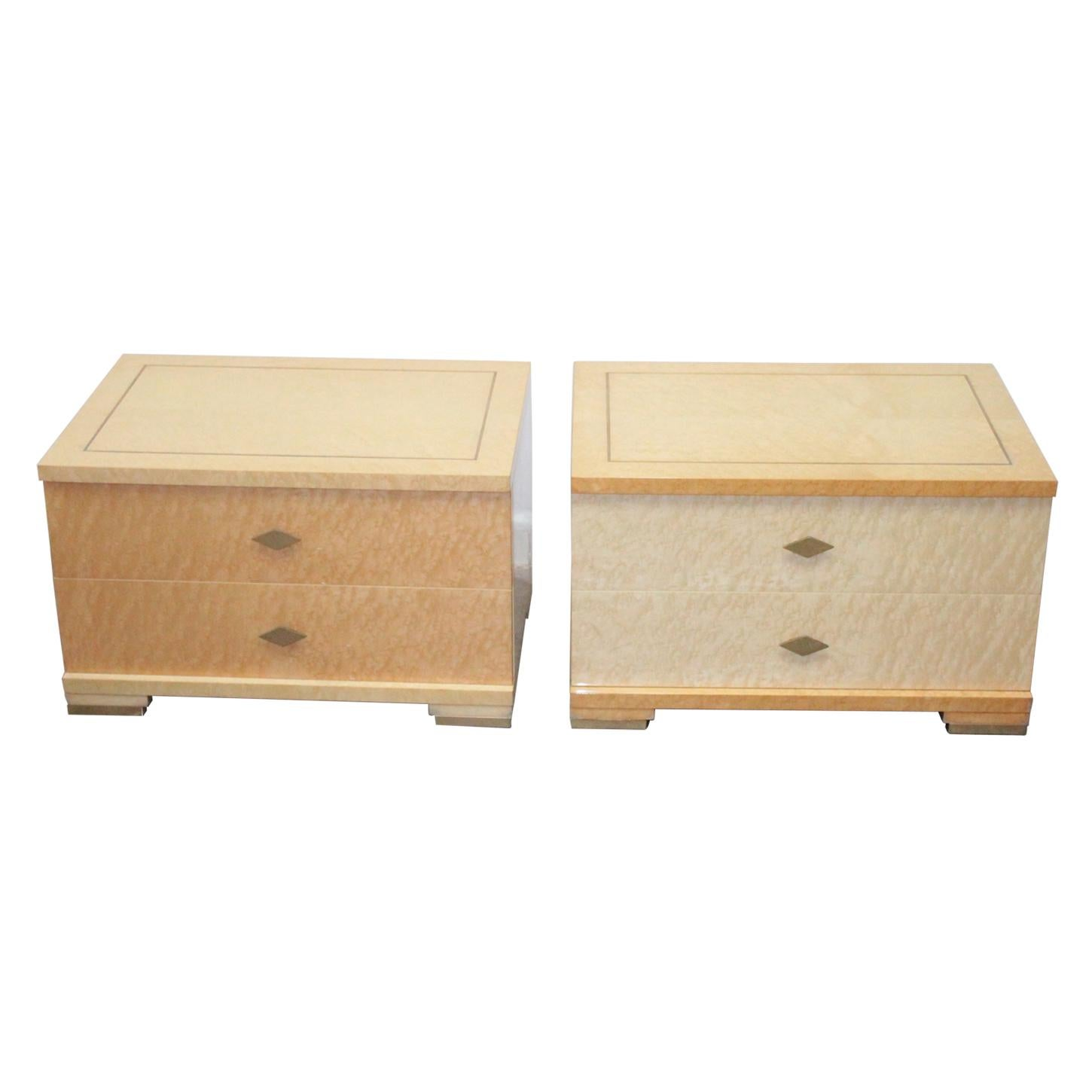 Italian Modernist Bedside Pair Maple Briar Wood 1980s Willy Rizzo Style