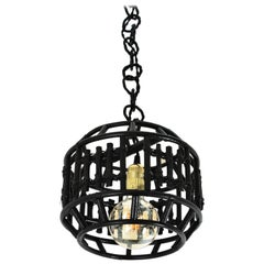 Bamboo Black Painted Pendant or Lantern with Geometric Design, Italy, 1960s
