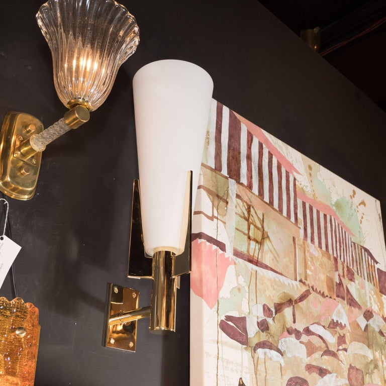 Mid-Century Modern Italian Modernist Brass and Frosted Murano Glass Sconces in Style of Gio Ponti For Sale