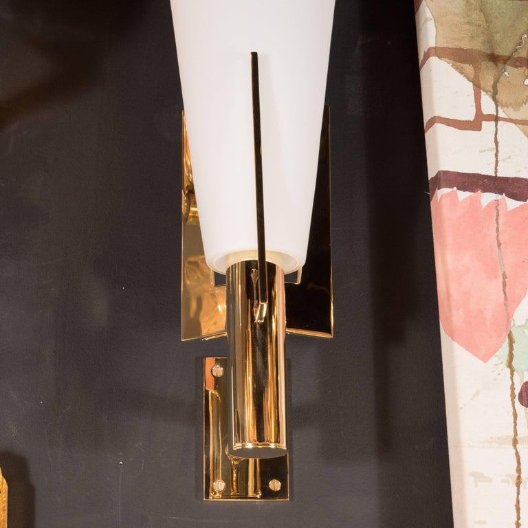 Contemporary Italian Modernist Brass and Frosted Murano Glass Sconces in Style of Gio Ponti For Sale