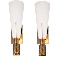 Italian Modernist Brass and Frosted Murano Glass Sconces in Style of Gio Ponti