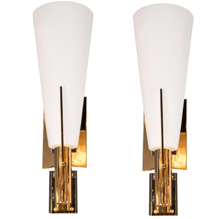 Italian Modernist Brass and Frosted Murano Glass Sconces in Style of Gio Ponti For Sale
