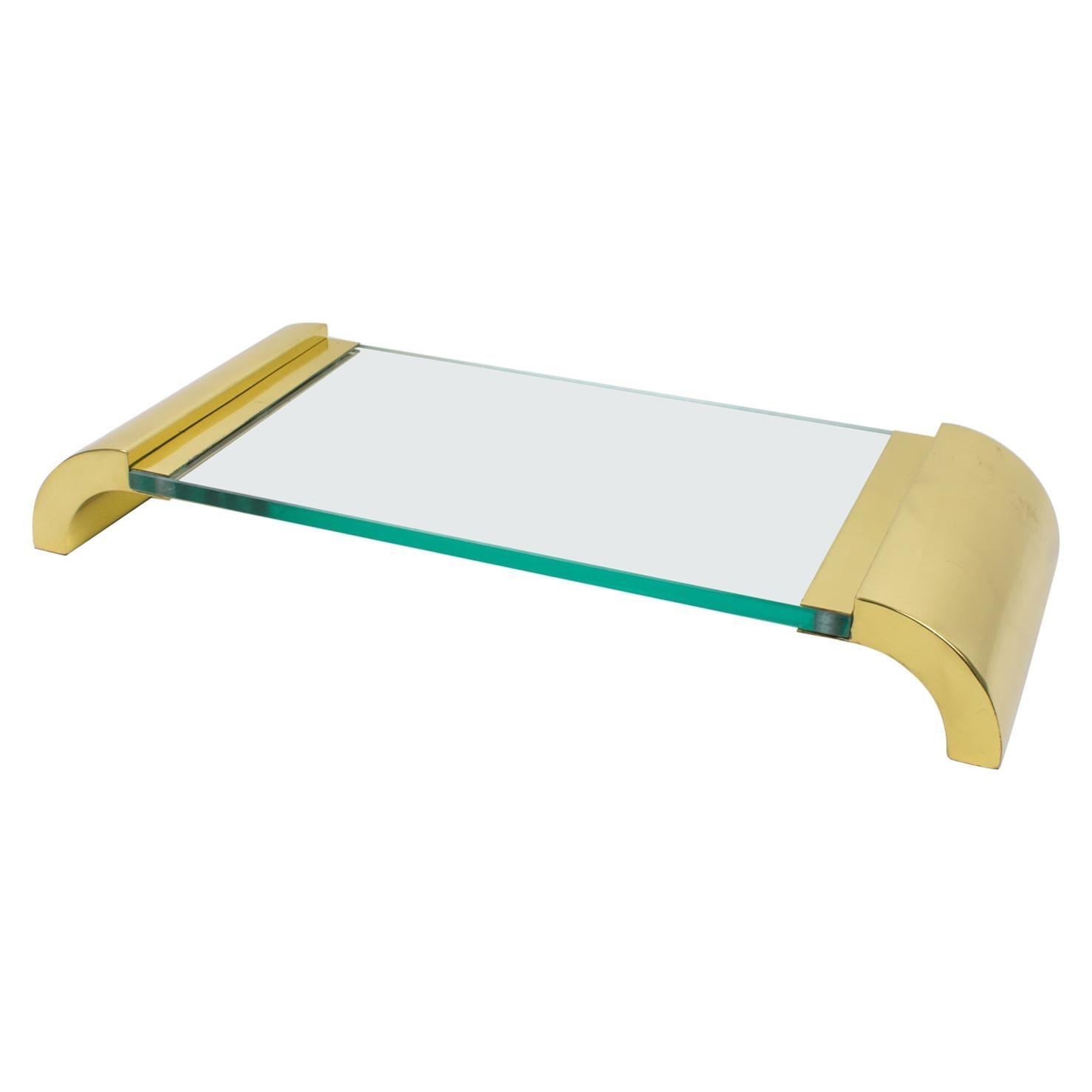 Italian Modernist Brass and Glass Pedestal Centerpiece Tray