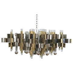 Italian Modernist Brass Chrome and Lucite Chandelier by Sciolari
