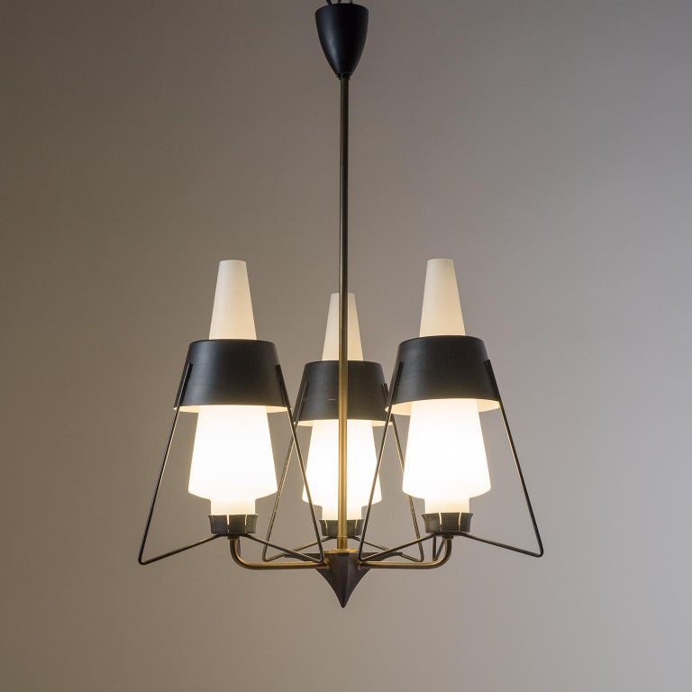 Lacquered Italian Modernist Chandelier, 1950s For Sale