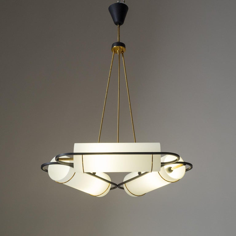 Italian Modernist Chandelier, 1950s, Satin Glass and Brass For Sale 3