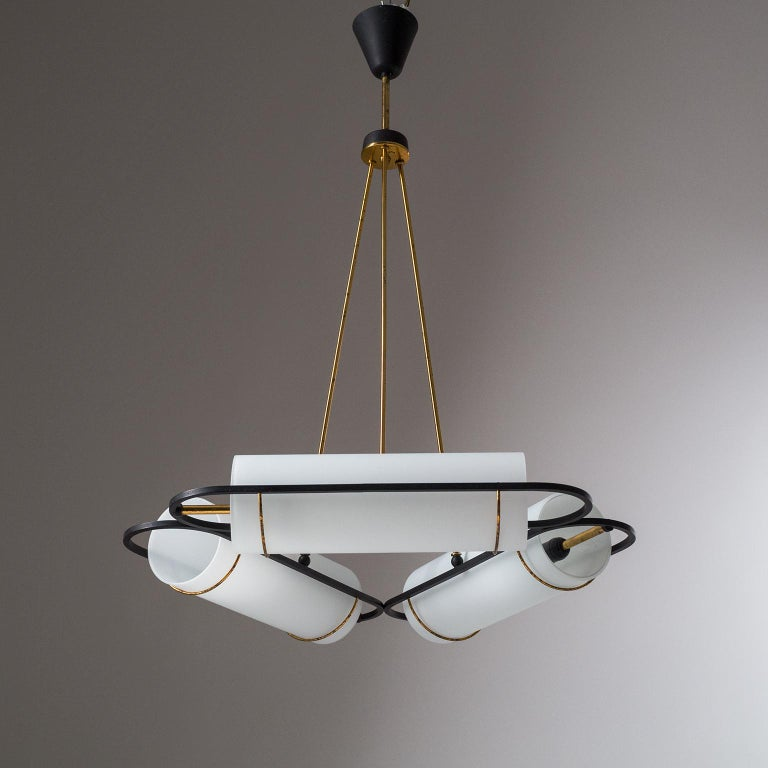 Italian Modernist Chandelier, 1950s, Satin Glass and Brass For Sale 4