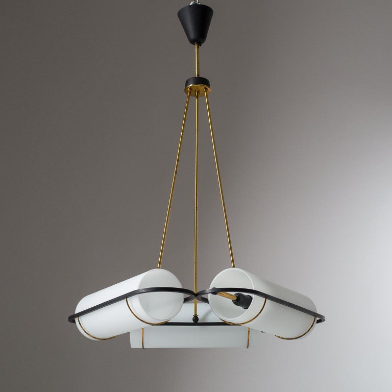 Italian Modernist Chandelier, 1950s, Satin Glass and Brass For Sale 7