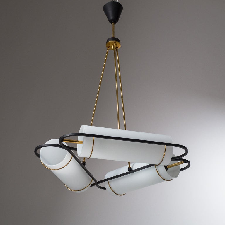 Italian Modernist Chandelier, 1950s, Satin Glass and Brass For Sale 8
